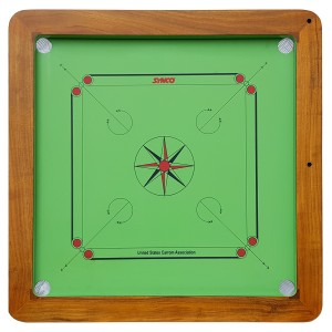 Plansza do bilarda indyjskiego, gra carrom Green Board 20 mm Natural